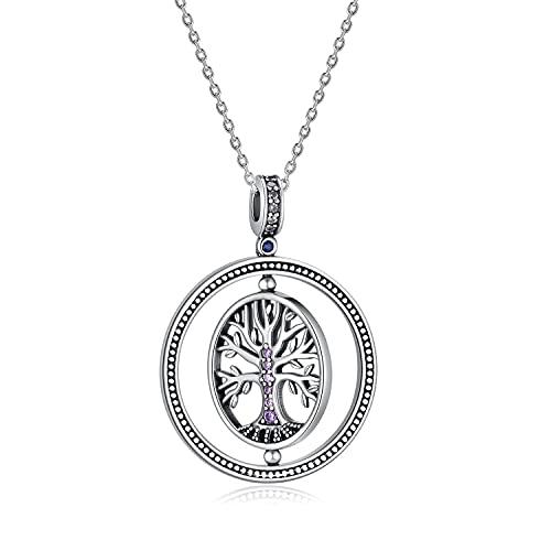 Collares Mujer Plata 'Arbol del Amor' Colgante Joyas Mujer Regalos Originales para Mujer Madre Mamá Abuela Amigas Parejas