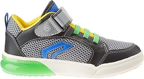 Geox Jungen J GRAYJAY Boy D Hohe Sneaker, Schwarz (Black/Green C0016), 35 EU