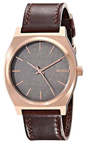 Nixon Time Teller Herrenuhr Analog Quarz mit Leder Armband Rose Gold / Gunmetal / Brown