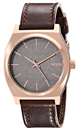 Nixon Time Teller Herrenuhr Analog Quarz mit Leder Armband Rose Gold / Gunmetal / Brown
