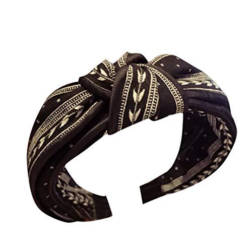 YWLINK Elegant Verzerrt Mittlerer Geknoteter Knoten Lattstreifen Retro Breite Seite Einfacher Rutschfestes Stirnband