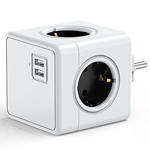 UniHom Steckdosenwürfel mit USB, Mehrfachsteckdose 4 Steckdosen mit 2 USB-Steckplätzen, 6 in 1 Cube Steckdosen für Zuhause, Büro, Reisen (Weiß)