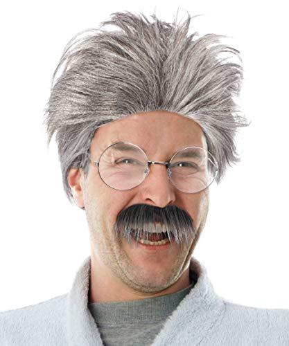 Balinco Set mit Grauer Opa Perücke + Schnauzbart + runde Brille Verkleidung Großvater Grandpa Granddad Party Fasching Kostüm Accessoire