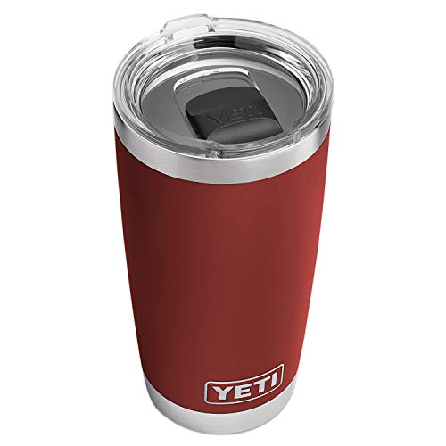 YETI Rambler 20 oz Tumbler, Stainless Steel, Vacuum Insulated with MagSlider Lid, Brick Red