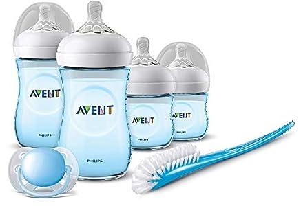 Philips Avent SCD301/04 - Set de recién nacido gama natural, 4 biberones, chupete y escobilla, azul