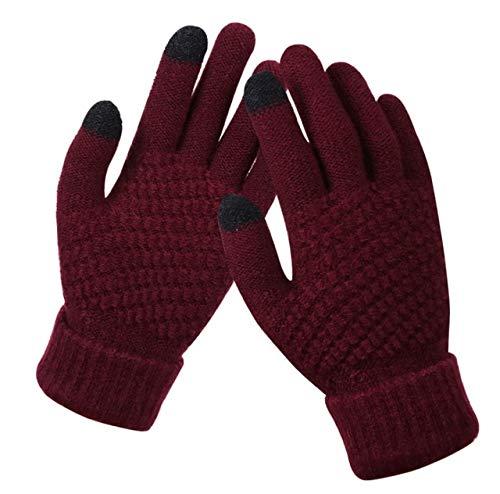 Damen Winter Touchscreen-Handschuhe Verdicken Warme Strick-Stretch-Handschuhe Vollfinger Outdoor-Skihandschuhe-Wine red-One Size