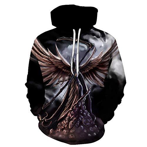 Herren Sweatshirt 3D Digitaldruck Hoodie Horror Elemente Reaper Skull Serie