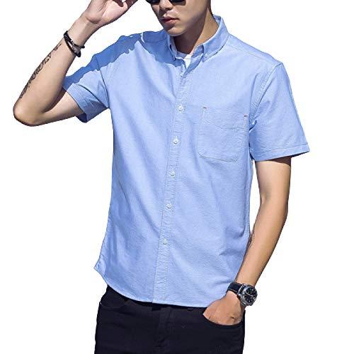 Luandge Herren Business Casual Kurzarmhemden Modehemden Einfach Vielseitig Klassische Büroarbeit Nähen Seitentaschenhemden XXL