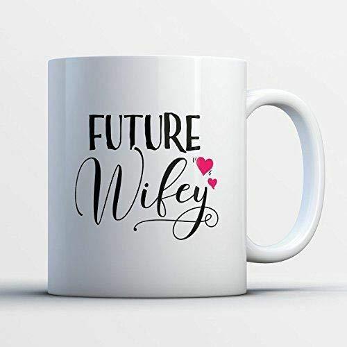 Taza de café de 325 ml, taza de té, taza de café de compromiso para esposa – Future Wifey Engagement Divertida taza de té negro y blanco para mujeres y hombres, taza de café de 325 ml