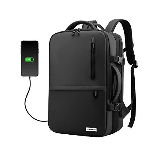 Redlemon Mochila para Laptop Expandible Antirrobo con Puerto USB para Power Bank (no incluido), Tamaño Extra Grande, 3 Divisiones con Múltiples Compartimentos, Respaldo Acolchonado, Ideal Para Viajes
