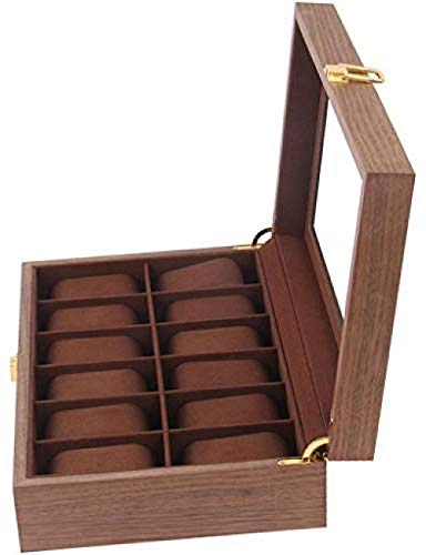 Hoge kwaliteit 12-slots geval scherm opbergdoos houten kijken box glazen top sieraden opslag organisator sieraden doos Afneembare mat afsluitbaar vitrinekast, Watch Box, glas bijgevuld display van het