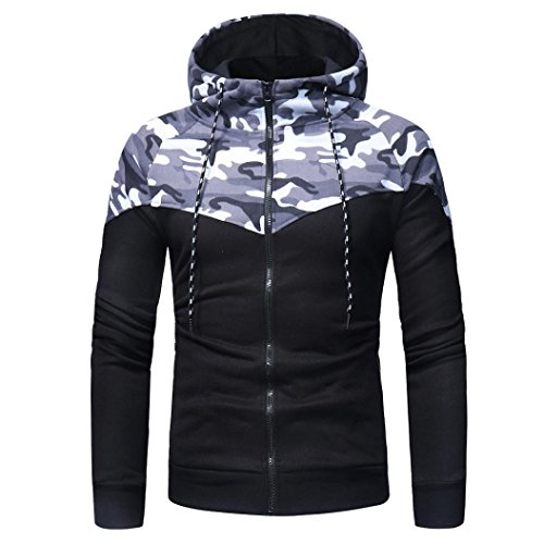 Männer Tarnung Pullover,Moonuy Männer Herbst Winter Camouflage Sweatshirt Top Hosen Sets Sport Anzug Trainingsanzug Charme Mit Kapuze Elastische Bluse (Bluse(A), EU36/AsiaM)