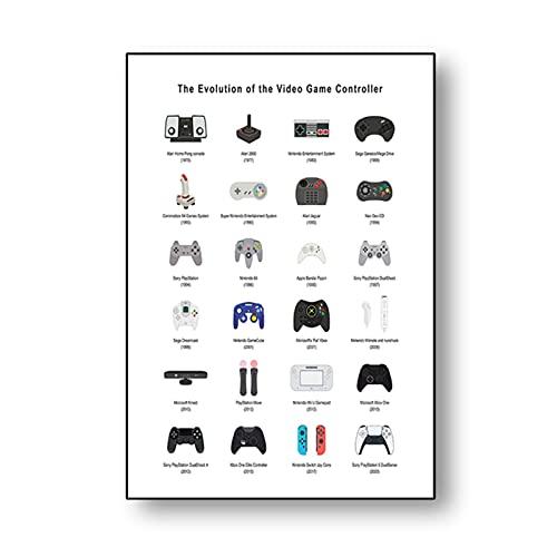 Uppdaterad Videogame Controllers Posters Pojkvän Presentkort Gamepad Konst Gaming Canvas Målning och retro Tryck för spelrum 20x28 inch Ingen ram
