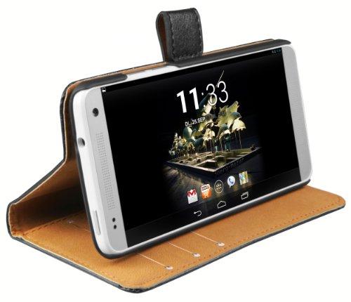 mumbi Echt Leder Bookstyle Hülle kompatibel mit HTC One mini Hülle Leder Tasche Hülle Wallet, schwarz