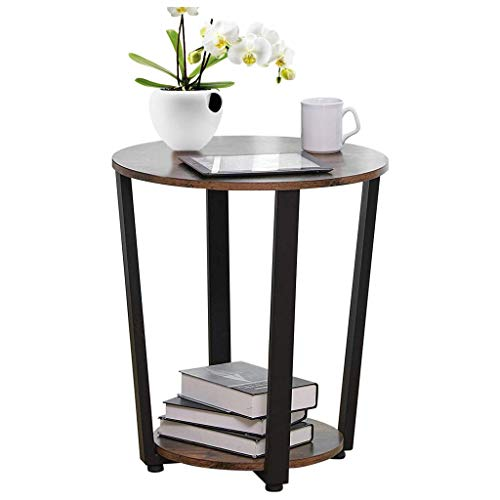 Simple Round Double Retro Coffee Table/Bedroom Bedside Table/Wrought Iron Telephone Desk/Metal Sofa Side Desk/Night Stand/with Storage Rack Accen Furniture 50x35x57cm, Retro Color
