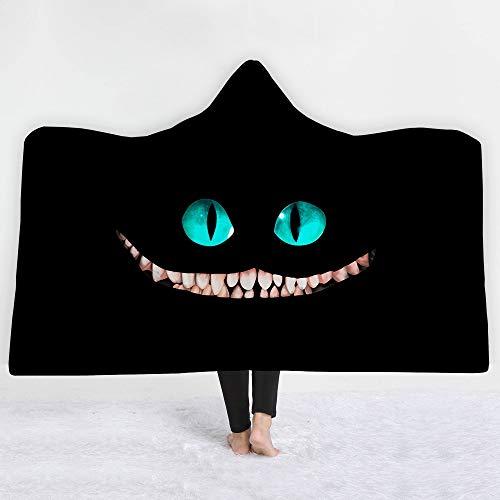 HUANGRONG Manta con Capucha Lannidaa Black Devil'S Smile Hooded Manta Kids Adultos Viajes Picnic Playing Cloak Manta Sudadera con Capucha Manta Lanzar Sofá Cama (Size : 150x200cm)