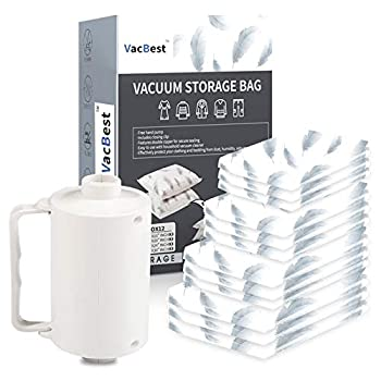 VacBest Vacuum Storage Space Saver bags 12 Combo  3 Small 3 Medium 3Large + 3 Jumbo  With a Powerful Electric Pump for Travel and Household Usage