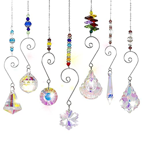 Queta Atrapasoles de Cristal 7pcs Colgantes de Cristal de Colores Arcoíris Bola de Prisma de...