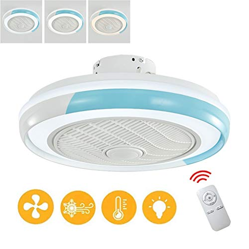 50cm Ronde LED Invisible Ceiling Fan Light Verstelbare Windsnelheid, Licht Ventilator Met Dimmer 3 Snelheden 3 Kleuren Met Silent Motor ABS Fan Blade, White (Color : Blue)