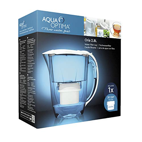 Paquete de 1 mes Aqua Optima - Jarra de filtro de agua Oria  con 1x cartucho de filtro de agua de 30 días