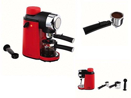 Elektrische espressomachine koffiezetapparaat 4 kopjes espressomaker rood glazen kan (kleine cappuccino-machine met melkopschuimer, koffiepoeder, 800 watt)