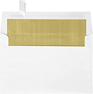 A9 Foil Lined Invitation Envelopes (5 3/4 x 8 3/4) w/Peel & Press - White w/Gold LUX Lining (50 Qty.) | Perfect for the HOLIDAYS, Invitations, Social Mailings, Greeting Cards and More! |FLWH4895-04-50