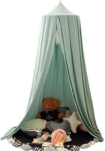 Baby Baldachin Betthimmel Kinder Babys Bett Baumwolle Hängende Moskiton für Schlafzimmer Ankleidezimmer Spiel Lesen Zeit Höhe 250 cm (Grün)