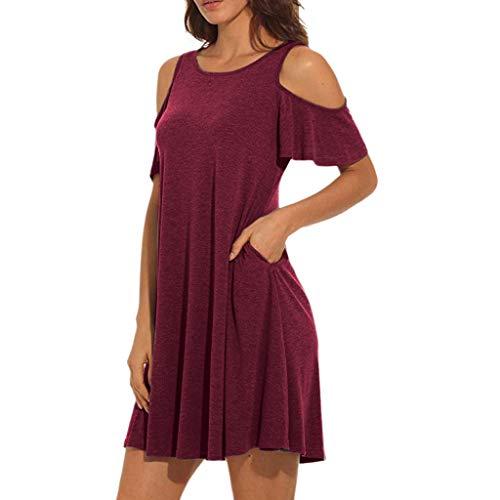 SANFASHION Damen Minikleid,Frauen Sommer kalt Schulter Tunika Top Swing T-Shirt lose Kleid mit Taschen