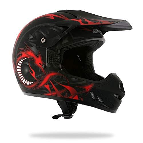 AMX - Casco Motocross, Nero/Rosso Opaco, L