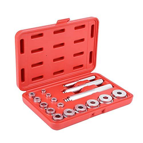 Lager Werkzeug Set, 17pcs Aluminium Radlager Abzieher Werkzeug Radlager Race Seal Bush Driver Set Auto Garage Werkzeug Kit mit rotem Koffer