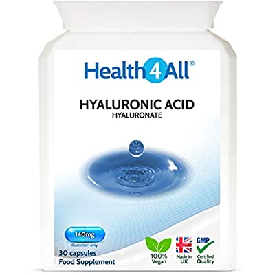 Hyaluronic Acid 30 Capsules (V) Super Strength 140mg. Vegan. High Molecular Weight 1.0-.1.5 Milion Daltons. Made by Health4All