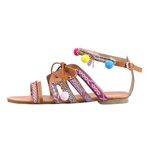 VJGOAL Damen Sandalen, Frauen Mädchen Böhmen Sandalen Gladiator Leder ethnischen Stil Sandalen Wohnungen Schuhe Pom-Pom Beach Party Sandalen Geschenke (34 EU, Mehrfarbig)