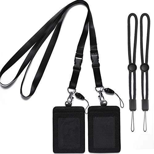YOUOWO 2 Pack Badge Holders Leather+2 Pack Neck Lanyards Detachable Buckle Black Lanyard Strap for Men Women Keys 2-Sided PU Leather Vertical ID Cards Holder with 1 ID Window and 2 Card Slot