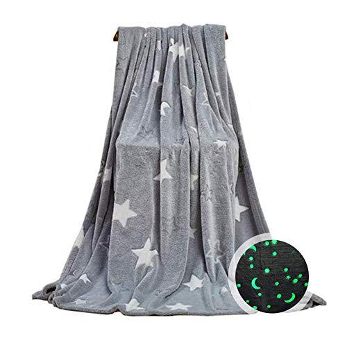 Decke Weichen Flanell Kuscheldecke Mit Leuchtenden Sternen Im Dunkeln leuchten Spaß Für Mädchen, Jungen, Kinder, Premium Super Soft Flauschige Flauschige Plüsch Pelzige(100 150 cm)