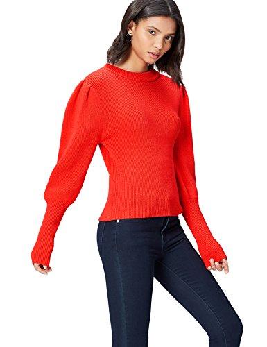 find. Jersey con Volumen en las Mangas para Mujer, Rojo (rojo), 42 (Talla del Fabricante: Large)