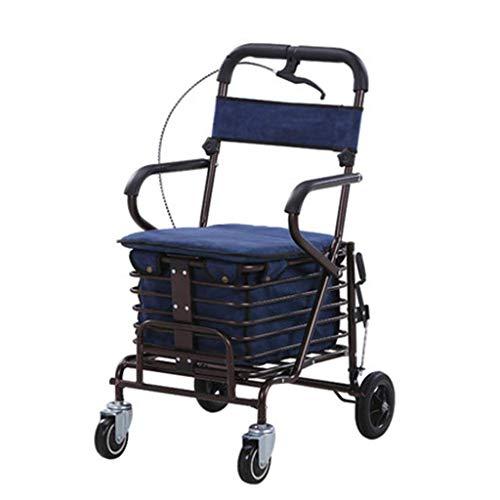 UWY Old People Einkaufswagen Trolley Walker kann sitzen kann schieben kann klappbar Einkaufswagen Vier Räder leicht und Convenie, blau