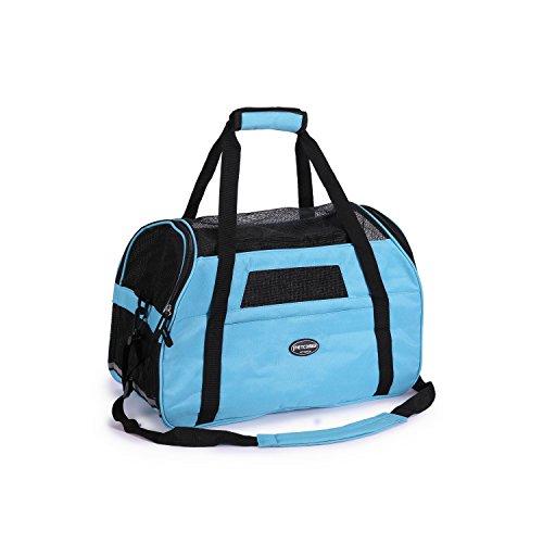 Hunde tasche für kleine Hunde Katzen Hundetasche mit Matte Tragetasche mit Tragegriff und Schultergurt hunde tasche für auto Hundetasche komfort Airline Genehmigte chihuahua belastet 3 kg, Blau