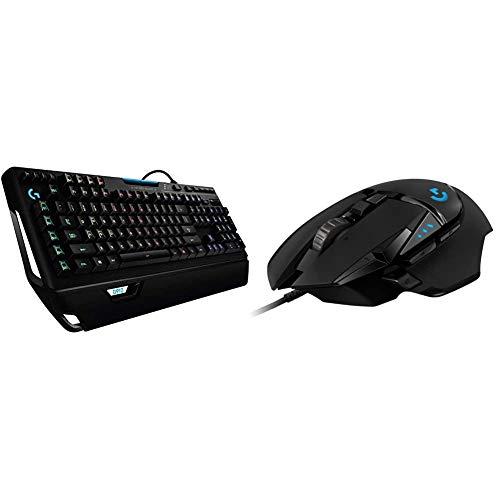 Logitech g910 orion spectrum tastiera gaming meccanica illuminata, tasti retroilluminati lightsync rgb & g502 hero mouse gaming prestazioni elevate, sensore hero 16k, 16000 dpi