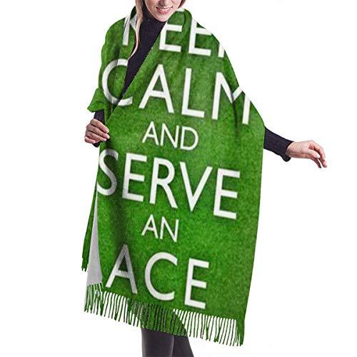 leyhjai Keep Calm and Ace Tennis Moda para mujer Zapatos de bolos con mantón largo Mantón suave Bufanda de invierno grande