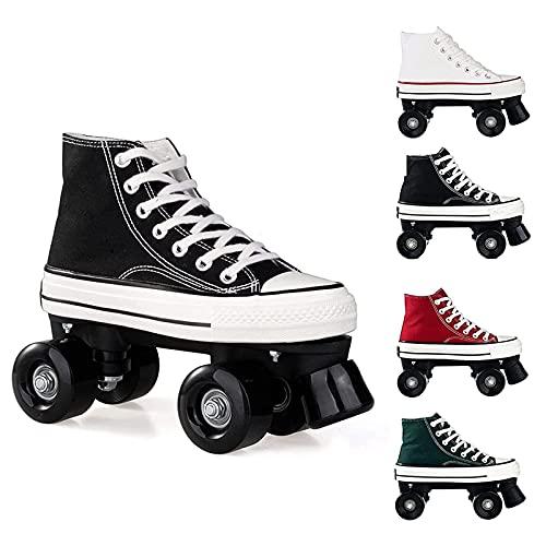 XRDSHY Rollschuhe for Women,Quad Roller Skates for Sport Outdoorschuhe Skateboardschuhe Adults Rollschuhe Double Row Canvas Roller Skates,black-39
