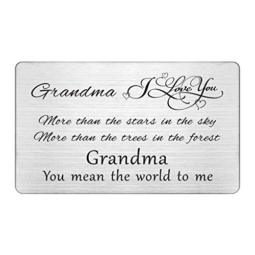 Best Grandma Gifts, I Love You More Than The Stars In the Sky, Engraved Wallet Inserts for Grandma, Grandma Greeting Birthday Card, Mother's Day Gifts for Grandmother