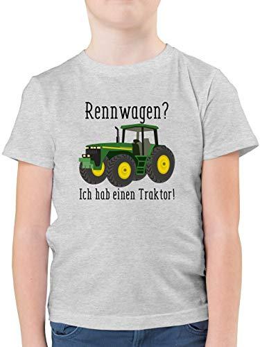 Fahrzeuge Kind - Rennwagen? Traktor! - 104 (3/4 Jahre) - Grau meliert - F130K - Kinder Tshirts und T-Shirt für Jungen