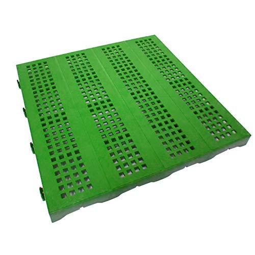 Kunststof tegel voor buiten en tuin 40 x 40 cm groen geperforeerd 6 stuks komt overeen met ca. 1 m².