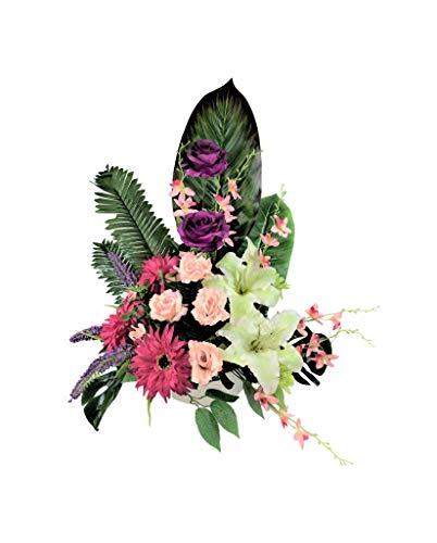 LBA Centro de Flores Artificiales para Cementerio. También para Iglesias. Especial Día de Todos los Santos. Medidas: 65x50x35 cms. Aprox.