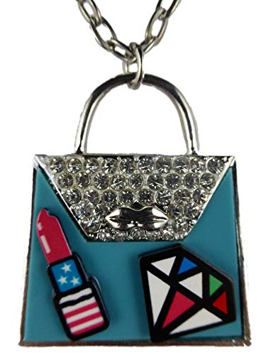 Halskette Kette Straße Stein silberfarben blau Lippenstift Comic Handtasche Tasche 1456