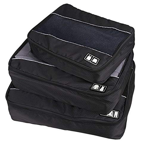 LINGNING 3 PCS/Sets Multi-function Football Texture 210D Polyester Waterproof Travel Clothes Underwear Storage Bag ZPF (Color : Black)
