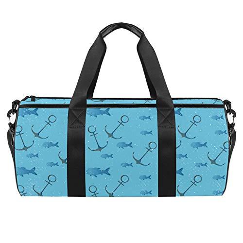 LAZEN Hombro Handy Sports Gym Bags Travel Duffle Totes Bag para hombres, mujeres, fondo azul, anclas, patrón de barco