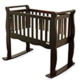 Green Frog, Baby Cradle | Handcrafted Elegant Wood Baby Cradle | Premium Pine Construction | Wheel, Rockers and Stationary Options | Rich Espresso Color