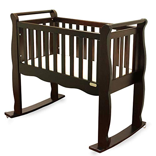 Green Frog Baby Cradle | Handcrafted Elegant Wood Baby Cradle | Premium Pine Construction | Wheel Rockers and Stationary Options | Rich Grey Color