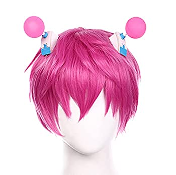 Saiki K Wig with Hair Clips Short Pink Wig with Bangs Curly Purple Wig No Sai-nan Main Character Cosplay Wig for Men Boy Women Girl  Saiki K Wig with Hair Clips